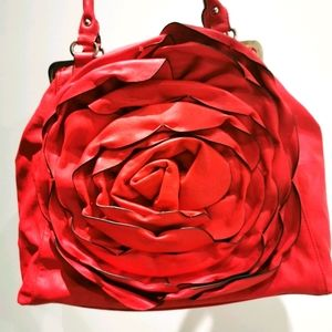 Browns flower leather bag in red